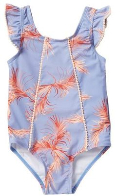 b7177d7b43b98 See more. Jessica Simpson Purple Palms One Piece Bathing Suit (Toddler  Girls) Flutter Sleeve, Spandex