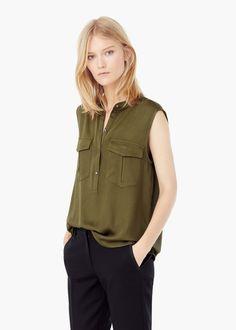 Chest-pocket flowy blouse - Shirts for Women | MANGO