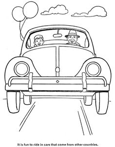 from Golden Funtime Cars and Trucks, cut out coloring book, 1963. Illus by Robert Doremus.
