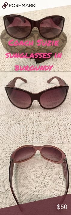 🆕 Coach suzie sunglasses in burgundy Authentic Coach suzie sunglasses 🕶 in burgundy with a crystal butterfly on the side and lenses have a burgundy tint to them..good used condition..no scratches on the lenses..missing some crystals from the butterfly and trail (priced accordingly to this defect)..comes with coach hard case and micro wipe. Stock photo shows same style in black . (10/30/17) Coach Accessories Sunglasses