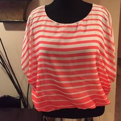 Cute Wide Sleeve Top Nice Coral and White Stripe Top with Wide Short Sleeves. It has a Fitted Elastic Waste Style bottom!!! Tops