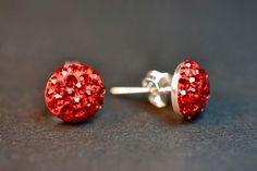 pendientes rojos cristal swarovski