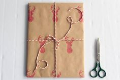 Christmas wrapping paper | Gift paper | Hand printed kraft paper | Stamped paper | Red deer stamp | 27.5x39.5'' | 70x100cm