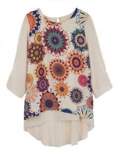 Casual Flower Printed Chiffon 3/4 Sleeve Round Neck Women Blouse