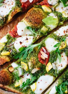 Simple arugula-almond pesto pizza with a no-rise whole wheat crust - cookieandkate.com