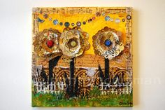 Floral Wall Decor Flower Art mixed media collage $126.00 This original collage painting is bright warm yellow, and brown with touches of chartreuse green. The art pictures a 3-D textured flowers with jeweled centers. The mixed media collage was created with pens, stamps, inks, art papers, passion, love and more.     This art appeals to teenage girls, music lovers and people of all ages; would make a fantastic gift idea for a girl, or decorate a nursery or girls' room.
