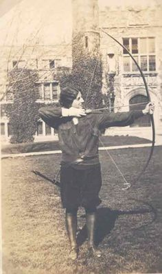 """Archery Outside New Gym, ca. 1926""    (Bryn Mawr College Library Special Collections)"