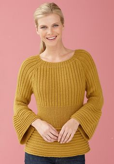 Ravelry: Flounce Edge Pullover pattern by Lion Brand Yarn - Super knitting Knitting Stitches, Knitting Patterns Free, Knit Patterns, Baby Knitting, Free Pattern, Winter Sweaters, Sweaters For Women, Knitting Pullover, Pullover Sweaters