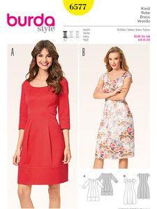 burda style: Damen - Kleider - Kleid - Teilungsnähte - Herzausschnitt