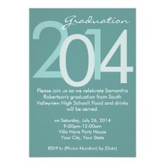 2014 Blue Typographic Graduation Party Invitation, class of 2014