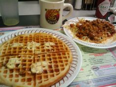 Coffee, pecan waffle, hashbrowns scattered, smothered, topped.