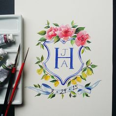 Watercolour Hand Painted Custom Wedding Crest Heraldry for Invitations, Stationary, Print Lemontree Calligraphy and Illustration Floor Decal, Monogram Wedding, Wedding Logos, Wedding Calligraphy, Family Crest, Stationery Design, Wedding Stationary, Monogram Letters, Wedding Paper