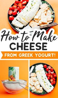 Strain Greek yogurt in a cheesecloth for a few days to make a healthy yogurt cheese! Creamy, spreadable, and packed with protein! Low Carb Vegetarian Recipes, Healthy Recipes On A Budget, Clean Eating Recipes, Beef Recipes, Budget Meals, Healthy Appetizers Dips, Appetizer Recipes, How To Make Cheese, Food To Make