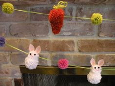 Easter Carrot Pompom Garland by Daulhouseshop on Etsy, $30.00