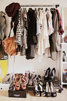 Closet: Clothing rack with shoe shelving and bookshelf with mirror for accessories and makeup storage