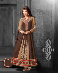 Brown and beige anarkali suit with embellished sleeves   1. Brown and beige  georgette anarkali suit2. Comes with matching bottom and dupatta3. Can be stitched upto bust size 42 inches