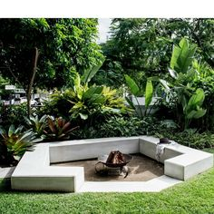 Firepit from our New Farm project, surrounded by lush planting, the perfect spot… - tropical garden ideas Design Patio, Garden Design, Tropical Garden, Tropical Plants, Lush Garden, Porches, Sunken Fire Pits, Fire Pit Decor, Fire Pit Lighting