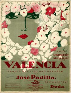 Vintage Sheet Music- Valencia, 1926 (illustrator.: Otto Dely)