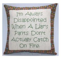 Funny Cross Stitch Pillow Cross Stitch Quote Brown by NeedleNosey..