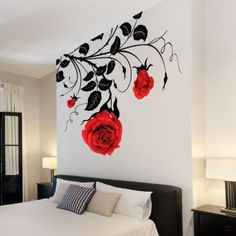 Large-Flower-Roses-Vines-Vinyl-Wall-Art-Stickers-Wall-Decals-Wall-Graphics