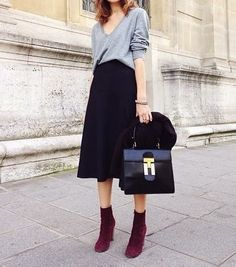 Midi skirts with tights and booties - Not Dead Yet Style