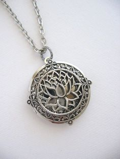 Lotus Flower Locket Silver Locket Silver Lotus by CharmedValley