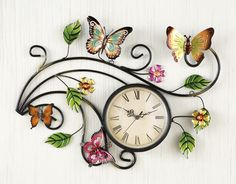 Collections Etc Metal Scrolling Butterfly Wall Clock Butterfly Bathroom, Butterfly Art, Butterflies, Metal Walls, Metal Wall Art, Primitive Candles, Iron Wall Decor, Collections Etc, Butterfly Decorations