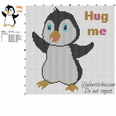 Cute baby animal penguin with text hug me free cross stitch pattern 86 x 97 stitches 8 DMC threads