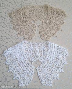Шикарные воротнички крючком от Лены Мастерицы. Подборка Col Crochet, Crochet Lace Collar, Crochet Lace Edging, Crochet Woman, Crochet Stitches, Crochet Capas, Diy Couture, Collar Pattern, Lace Patterns