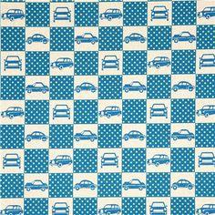 echino canvas designer fabric cars squares turquoise