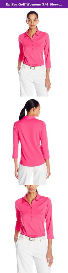 Ep Pro Golf Womens 3/4 Sleeve Golf Polo, Hot Pink, Medium. A technically advanced textured fabric that is subtle, feels super silky on, and performs. This fabric has been developed to have superior wicking characteristics as well as outstanding UV protection. The mesh insets under the arm are also meant to perform with you and add cooling ventilation. Performance and beauty, a winning combination for sure.