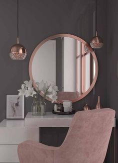 Tocadores modernos para habitaciones juveniles 2019 – 2020 - Spiteful Tutorial and Ideas Cute Room Decor, Wall Decor, Aesthetic Rooms, Beauty Room, New Room, Home Interior Design, Interior Architecture, Room Inspiration, Design Inspiration
