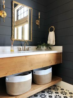 We know most of you are over shiplap. But black shiplap? We are loving this dark and moody powder room by The brass is a nice finishing touch too. Treatment Projects Care Design home decor Bathroom Interior Design, Home Interior, Black And Gold Bathroom, Black Bathroom Paint, Fabric Storage Bins, Storage Baskets, Cubby Storage Bins, Cube Organizer Bins, Plastic Storage