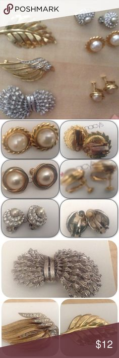 Bundle of 6 vintage pins and earrings. 6 costume pieces: pre owned:  Earrings: Gold,silver pearl and rhinestone colored. Pre owned condition some aigns of wear but note:  1 style shows wear around gold area, 1 style has a missing back cushion.   Brooches :  some wear on front  at color or back pin, all very wearable.   Please view all pieces and pics, descriptions. No returns. Jewelry