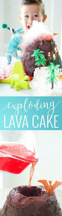 Dinosaur Cake with Exploding Volcano | fun cake recipes | dinosaur themed cakes | fun cakes for boys | birthday cakes for boys | interactive cake recipes | fun cake recipe ideas | how to make a volcano cake | how to make a dinosaur themed cake || Oh So Delicioso