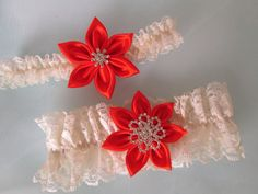 Red Wedding Garter Set Ivory Shabby Lace by GibsonGirlGarters