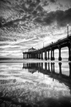 Photograph Manhattan Beach Pier B&W HDR Reflections by Thomas Sebourn on 500px