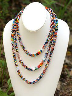 """Bead Crochet Necklace/Bracelet Multicolor - ♦ Necklace Length: 68"""" (173cm) ♦ Necklace Diameter: 5/16"""" (8mm)"""
