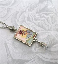 Vintage Gypsy Fortune Teller, Resin Art Charm Necklace. Blackberry Designs on Etsy.