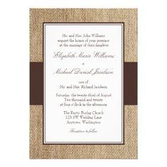 Formal Rustic Burlap Brown Wedding Invitations