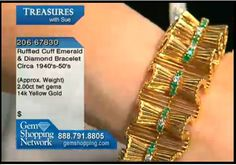 This retro bracelet has 14k yellow  gold shaped into ruffles with diamonds and emeralds that run a line down the center of the piece. From an estate collection and lots of fun if you love the retro look.