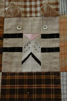 Cat block using repurposed men's shirts