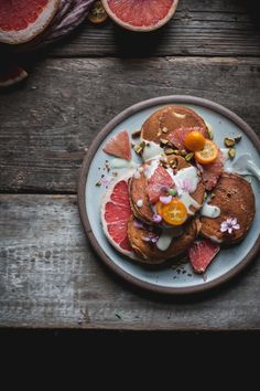 Grapefruit Mascarpone Pancakes with Maple Creme Fraiche