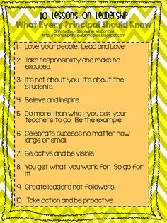 What Every Principal Should Know 10 Lessons on Leadership http://thenewprincipalprinciples.blogspot.com
