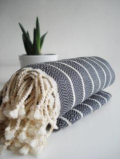 Turkish BATH Towel Peshtemal - Natural Cotton - Dark Gray. $26.00, via Etsy.