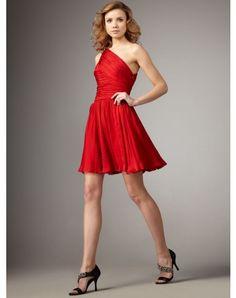 2012 Style A-line One Shoulder Ruffles Sleeveless Short / Mini Chiffon Cocktail Dresses / Homecoming Dresses (SZ021218 )