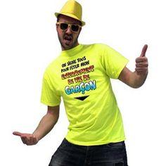 Avec ce t-shirt jaune fluo, le futur marié ne passera pas inaperçu le jour de son enterrement de vie de garçon ! A faire signer par tous les amis présents : un souvenir sympa en perspective !
