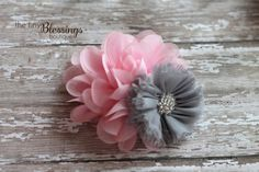 Pink and Grey Flower Headband or Clip Beautiful Newborn Photo Prop Baby Toddler Adult