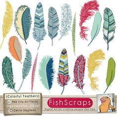 Colorful Feather Clip Art - ClipArt - Bird Feathers - Digital Illustrations - Fanciful Notions - Instant Download - Commercial Use