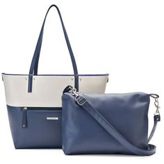 Stone & Co. Leather 2-in-1 Tote ($62) ❤ liked on Polyvore featuring bags, handbags, tote bags, blue other, white leather tote, white leather tote bag, leather tote handbags, white leather handbags and handbags totes